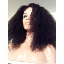 8 bis 18 inch Indische remy - front lace perücken - afro kinky (kinky curl) - haarfarbe 1B - sofort erhältlich