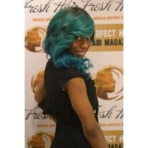 Handgemaakte pruik 7 - straight - haarkleur turquoise & alpine green- exclusief - direct leverbaar